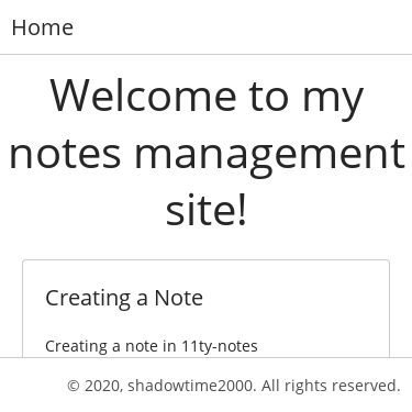 Screenshot of https://11ty-notes.vercel.app