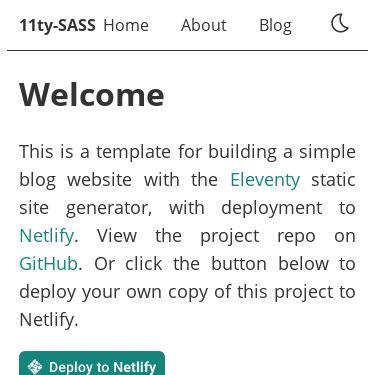 Screenshot of https://11ty-sass.netlify.app/