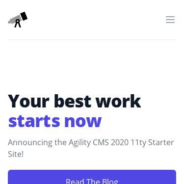Screenshot of https://agilitycms-eleventy-starter-2020.vercel.app/