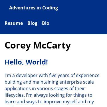Screenshot of https://coreydmccarty.dev/