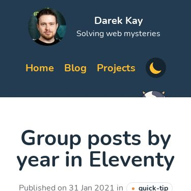 Screenshot of https://darekkay.com/blog/eleventy-group-posts-by-year/
