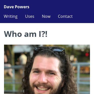 Screenshot of https://davepowers.me/