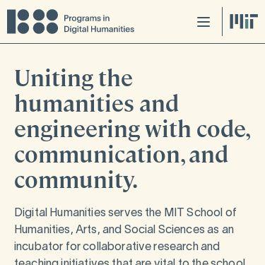 Screenshot of https://digitalhumanities.mit.edu/