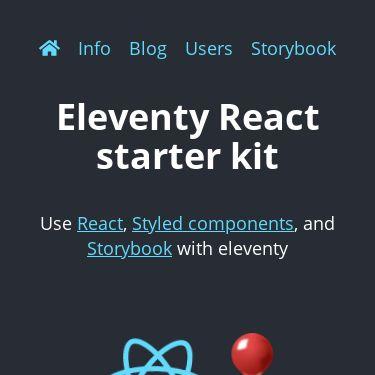 Screenshot of https://eleventy-react.netlify.app/