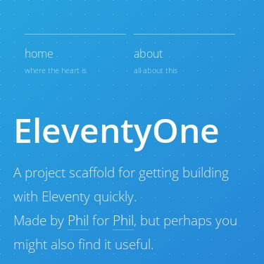 Screenshot of https://eleventyone.netlify.app/
