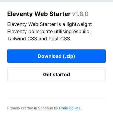 Screenshot of https://eleventywebstarter.netlify.app