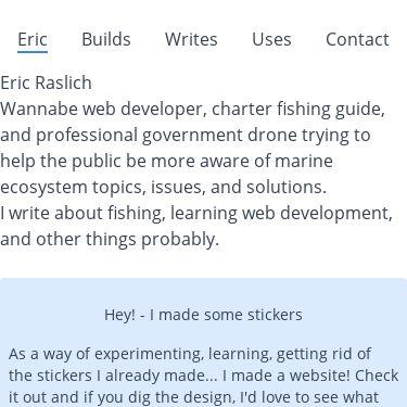 Screenshot of https://ericraslich.com/