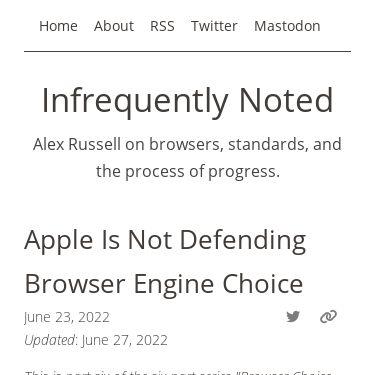 Screenshot of https://infrequently.org/