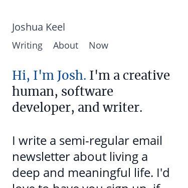 Screenshot of https://joshuakeel.com/