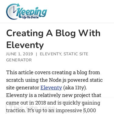 Screenshot of https://keepinguptodate.com/pages/2019/06/creating-blog-with-eleventy/