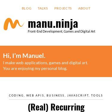 Screenshot of https://manu.ninja/