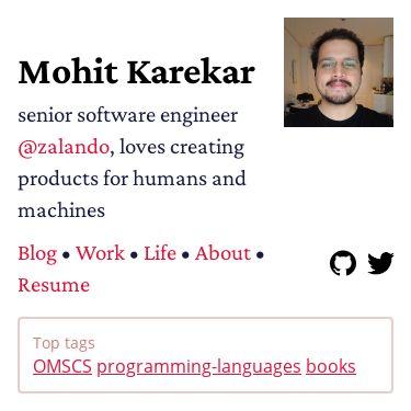 Screenshot of https://mohitkarekar.com