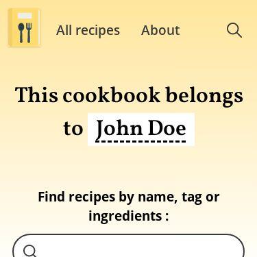 Screenshot of https://myonlinecookbook.netlify.app/