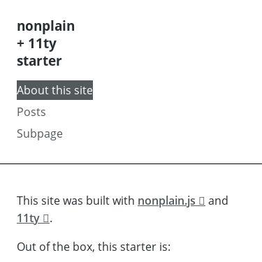Screenshot of https://nonplain-11ty-starter.vercel.app/