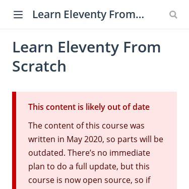 Screenshot of https://piccalil.li/course/learn-eleventy-from-scratch/