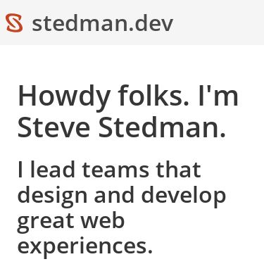 Screenshot of https://stedman.dev/
