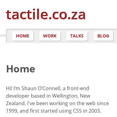 Screenshot of https://tactile.co.za