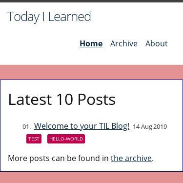 Screenshot of https://til-blog.glitch.me/