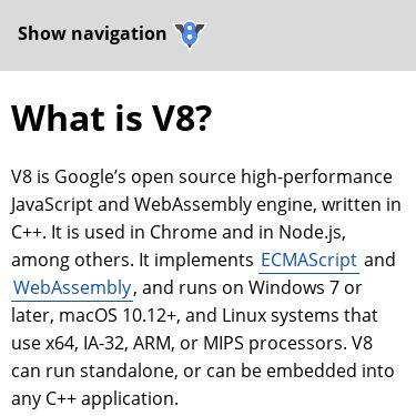 Screenshot of https://v8.dev/