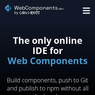 Screenshot of https://webcomponents.dev/