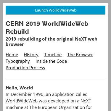 Screenshot of https://worldwideweb.cern.ch/