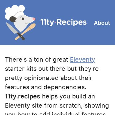 Screenshot of https://www.11ty.recipes/