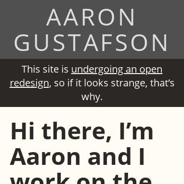 Screenshot of https://www.aaron-gustafson.com/
