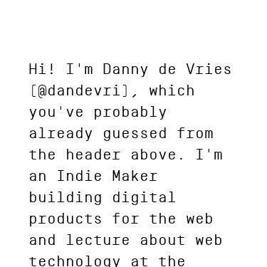 Screenshot of https://www.dandevri.es/