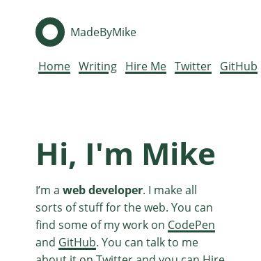 Screenshot of https://www.madebymike.com.au