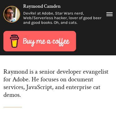 Screenshot of https://www.raymondcamden.com/