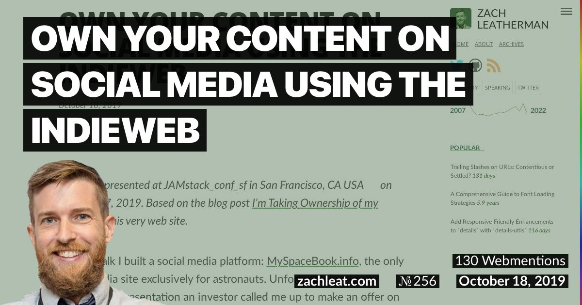 Own Your Content on Social Media Using the IndieWeb—zachleat.com